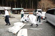 2013年2月2日冬季救護訓練での救護所設営の様子